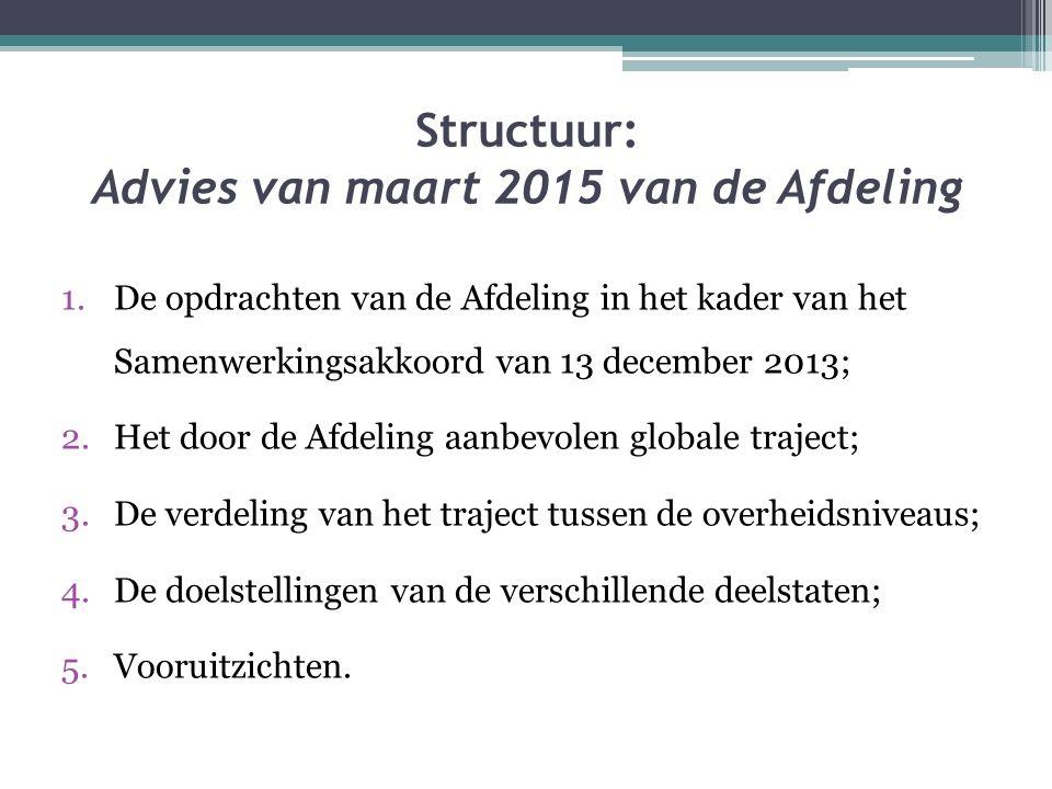 Structuur: Advies van maart 2015 van de Afdeling 1.De opdrachten van de Afdeling in het kader van het Samenwerkingsakkoord van 13 december 2013; 2.Het door de Afdeling aanbevolen globale traject; 3.De verdeling van het traject tussen de overheidsniveaus; 4.De doelstellingen van de verschillende deelstaten; 5.Vooruitzichten.