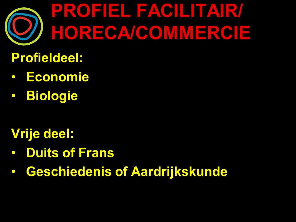 PROFIEL FACILITAIR/ HORECA/COMMERCIE Profieldeel: Economie Biologie Vrije deel: Duits of Frans Geschiedenis of Aardrijkskunde