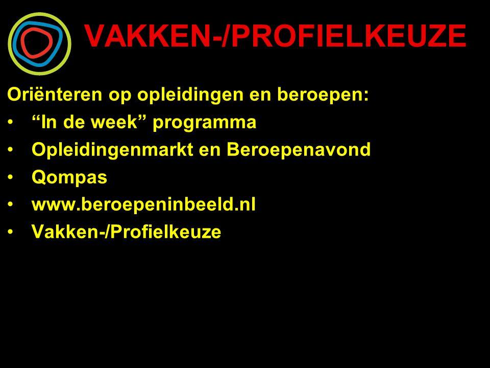 VAKKEN-/PROFIELKEUZE Oriënteren op opleidingen en beroepen: In de week programma Opleidingenmarkt en Beroepenavond Qompas www.beroepeninbeeld.nl Vakken-/Profielkeuze
