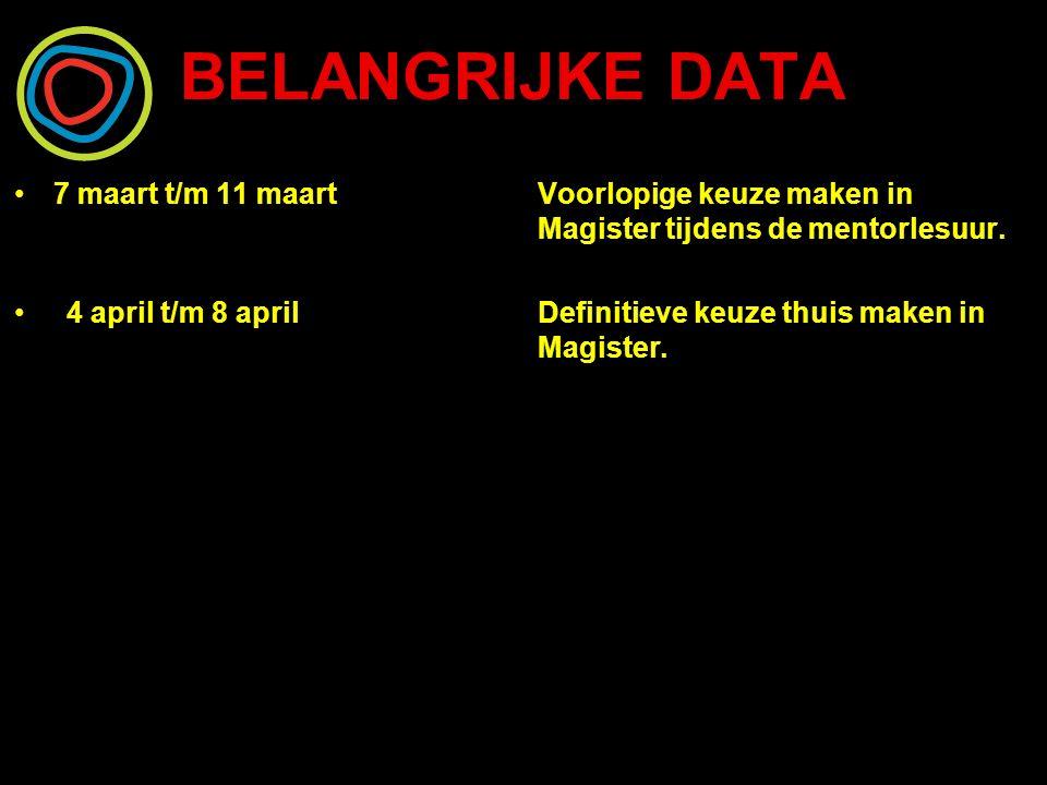 BELANGRIJKE DATA 7 maart t/m 11 maart Voorlopige keuze maken in Magister tijdens de mentorlesuur.