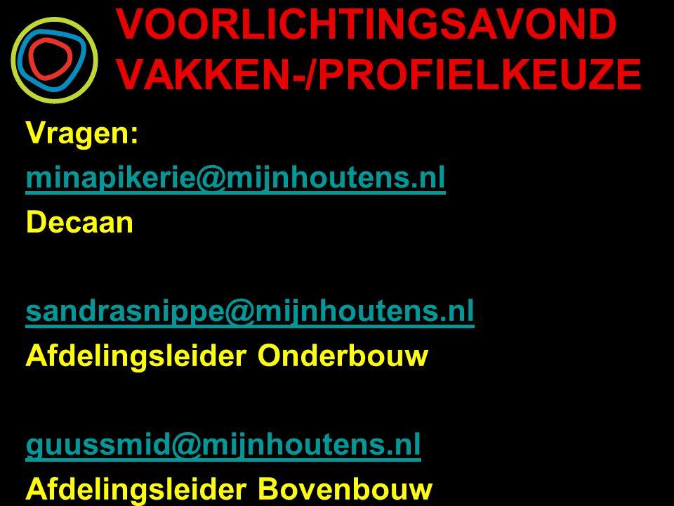 VOORLICHTINGSAVOND VAKKEN-/PROFIELKEUZE Vragen: minapikerie@mijnhoutens.nl Decaan sandrasnippe@mijnhoutens.nl Afdelingsleider Onderbouw guussmid@mijnhoutens.nl Afdelingsleider Bovenbouw