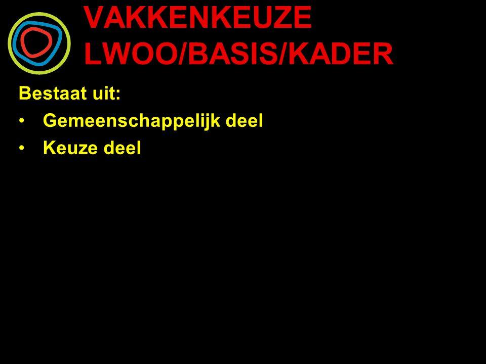 VAKKENKEUZE LWOO/BASIS/KADER Leerjaar 3 en 4 gemeenschappelijke vakken: Nederlands Engels Wiskunde Rekenen Maatschappijleer Bewegingsonderwijs CKV Mentorles Dienstverlening en Producten