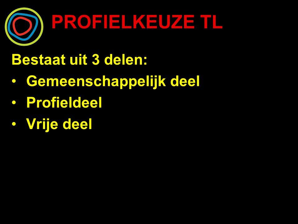 PROFIELKEUZE TL Bestaat uit 3 delen: Gemeenschappelijk deel Profieldeel Vrije deel