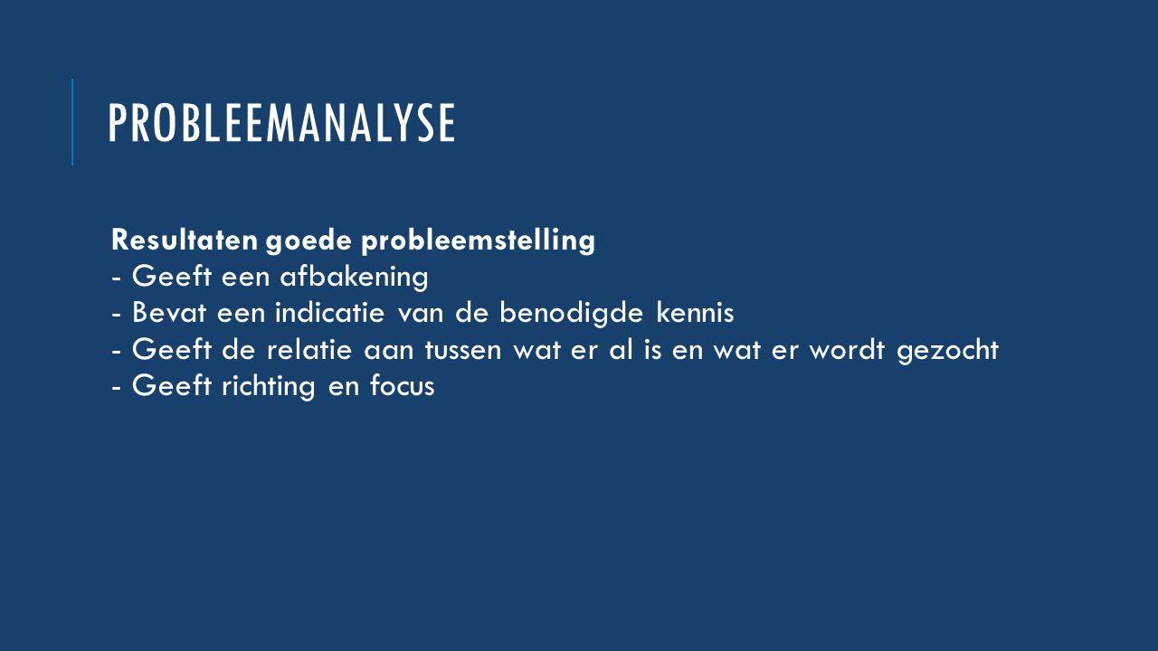 PROBLEEMANALYSE Resultaten goede probleemstelling - Geeft een afbakening - Bevat een indicatie van de benodigde kennis - Geeft de relatie aan tussen w