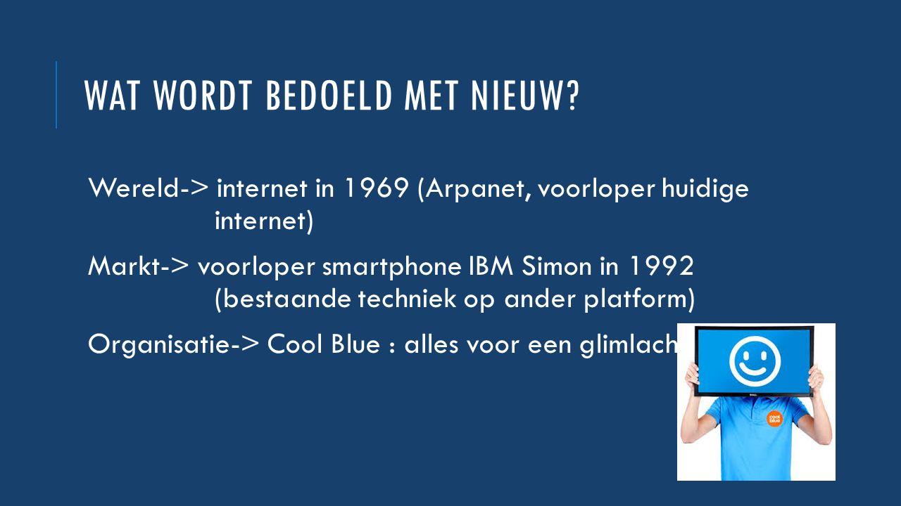 WAT WORDT BEDOELD MET NIEUW? Wereld-> internet in 1969 (Arpanet, voorloper huidige internet) Markt-> voorloper smartphone IBM Simon in 1992 (bestaande
