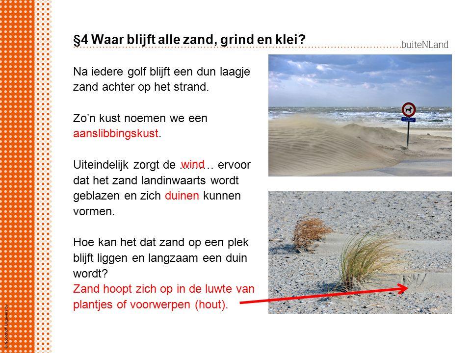 §4 Waar blijft alle zand, grind en klei? Na iedere golf blijft een dun laagje zand achter op het strand. Zo'n kust noemen we een aanslibbingskust. Uit