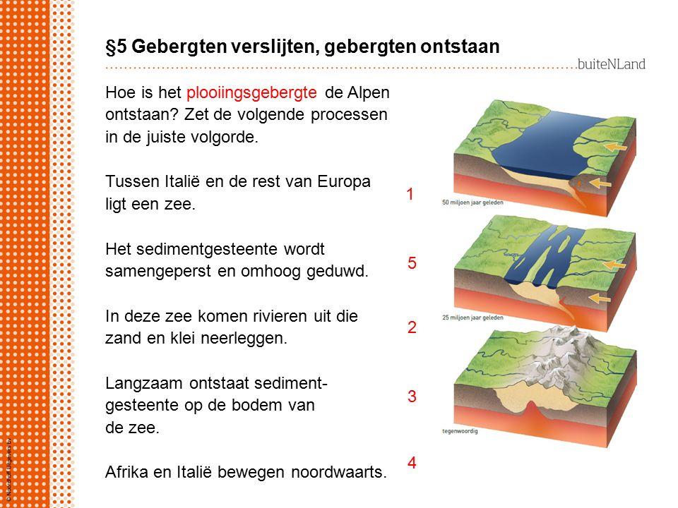 §5 Gebergten verslijten, gebergten ontstaan Hoe is het plooiingsgebergte de Alpen ontstaan? Zet de volgende processen in de juiste volgorde. Tussen It