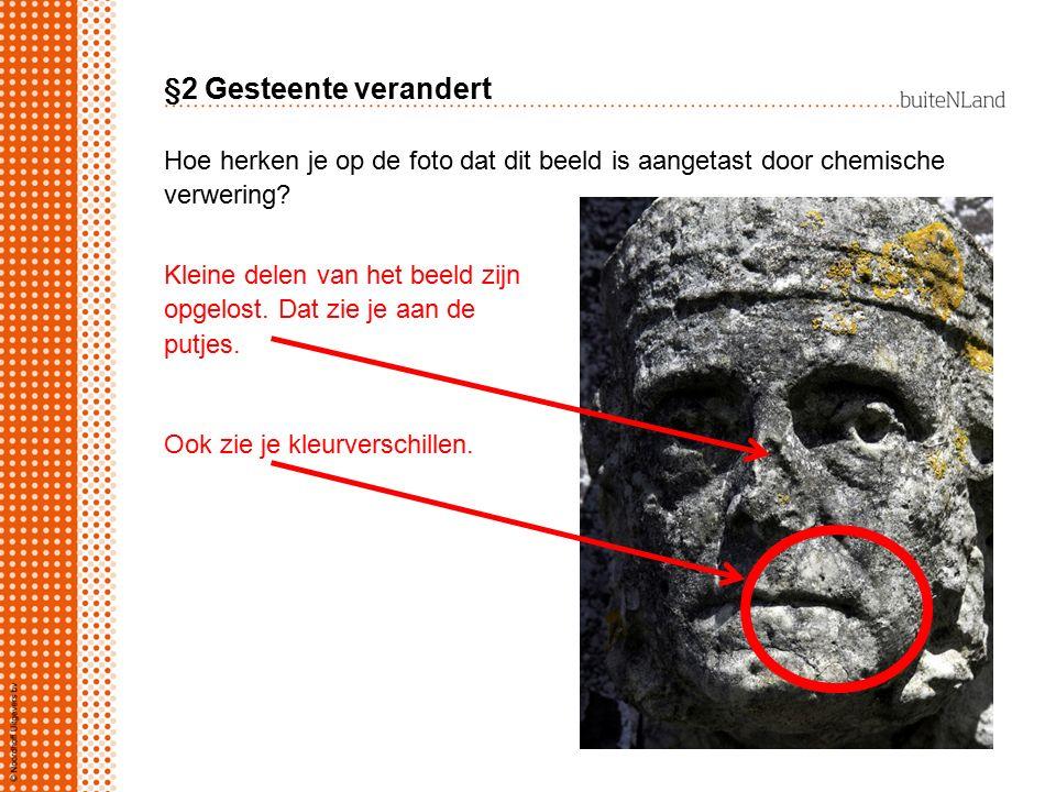 §2 Gesteente verandert Hoe herken je op de foto dat dit beeld is aangetast door chemische verwering.