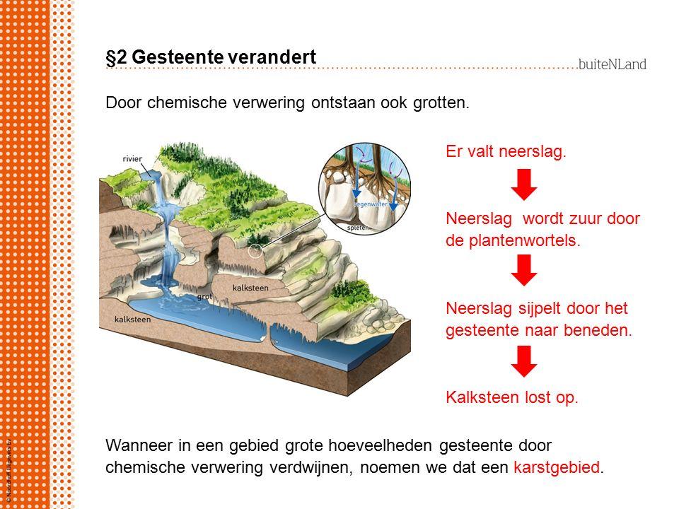 §2 Gesteente verandert Er valt neerslag.Neerslag wordt zuur door de plantenwortels.