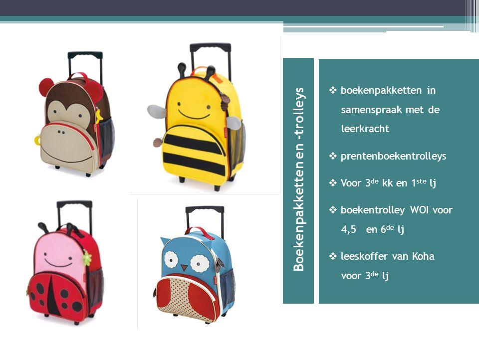 Boekenpakketten en -trolleys  boekenpakketten in samenspraak met de leerkracht  prentenboekentrolleys  Voor 3 de kk en 1 ste lj  boekentrolley WOI voor 4,5 en 6 de lj  leeskoffer van Koha voor 3 de lj