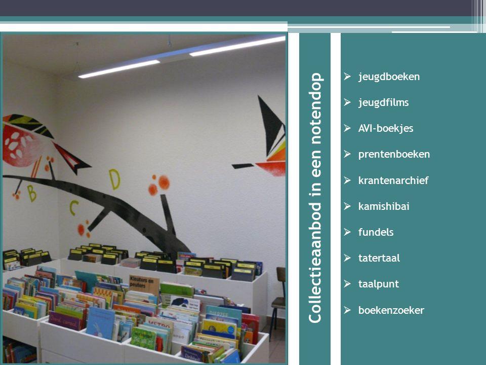 Collectieaanbod in een notendop  jeugdboeken  jeugdfilms  AVI-boekjes  prentenboeken  krantenarchief  kamishibai  fundels  tatertaal  taalpunt  boekenzoeker