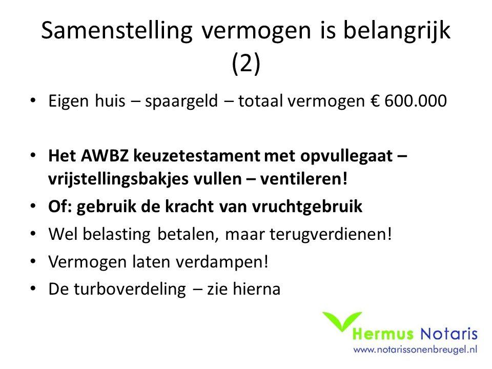 Samenstelling vermogen is belangrijk (2) Eigen huis – spaargeld – totaal vermogen € 600.000 Het AWBZ keuzetestament met opvullegaat – vrijstellingsbakjes vullen – ventileren.