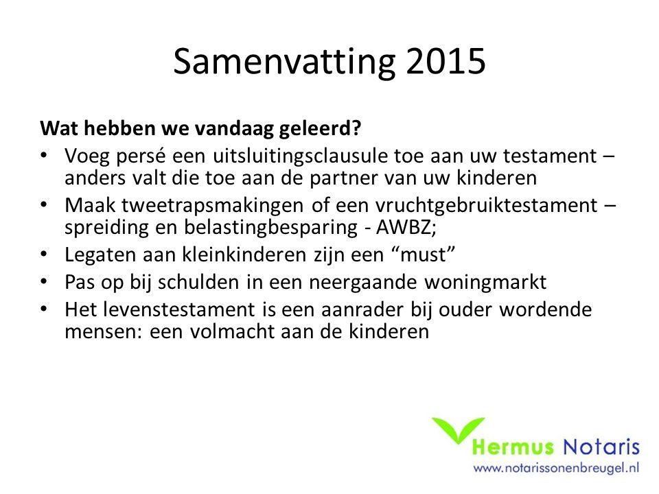Samenvatting 2015 Wat hebben we vandaag geleerd.