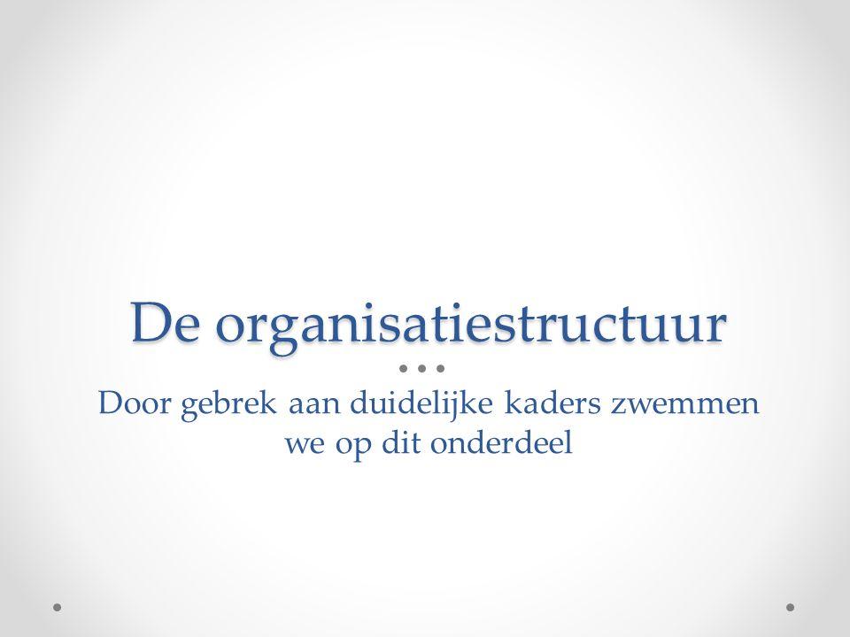 De organisatiestructuur Door gebrek aan duidelijke kaders zwemmen we op dit onderdeel