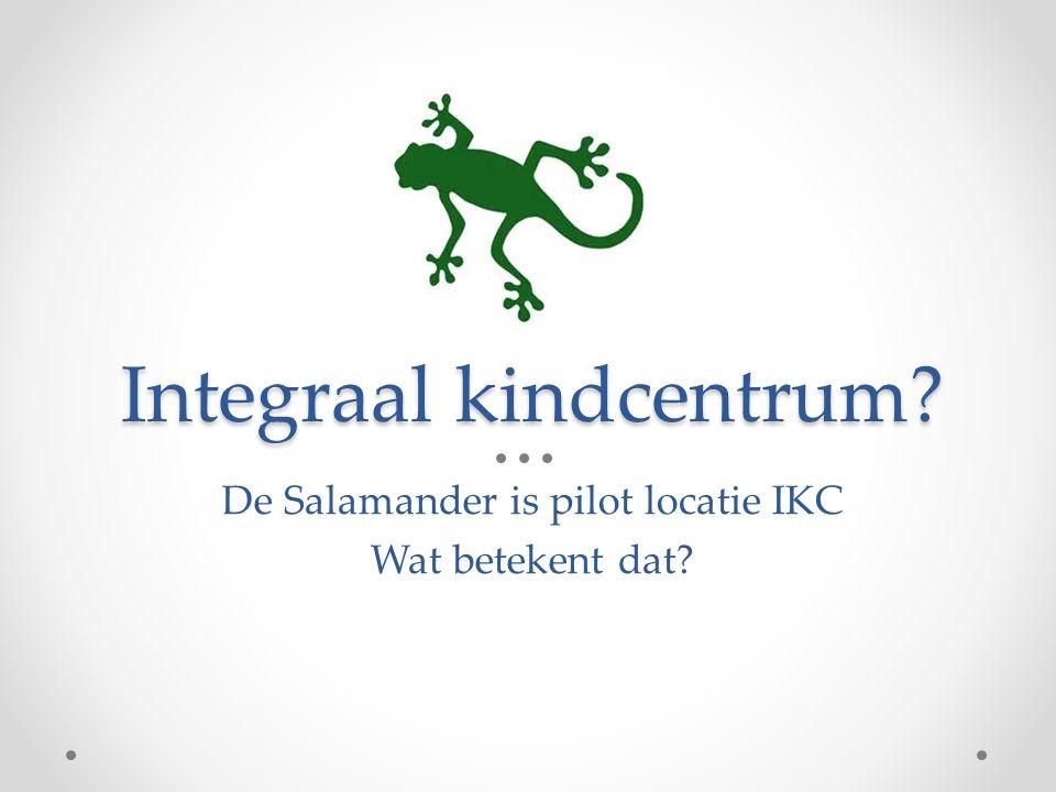 Integraal kindcentrum? De Salamander is pilot locatie IKC Wat betekent dat?