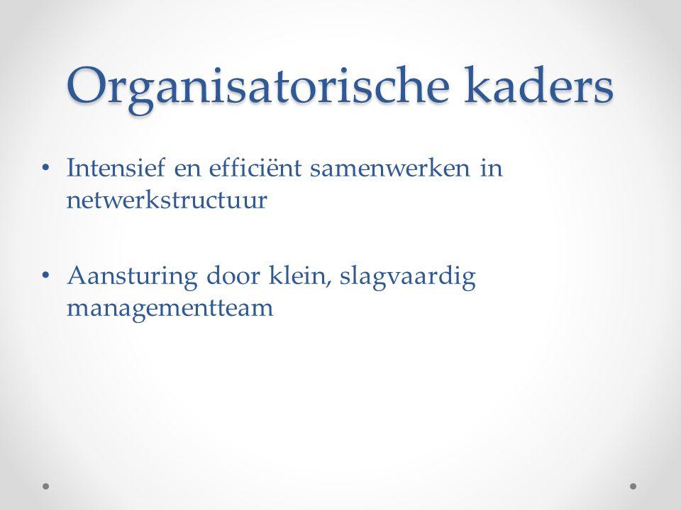 Organisatorische kaders Intensief en efficiënt samenwerken in netwerkstructuur Aansturing door klein, slagvaardig managementteam