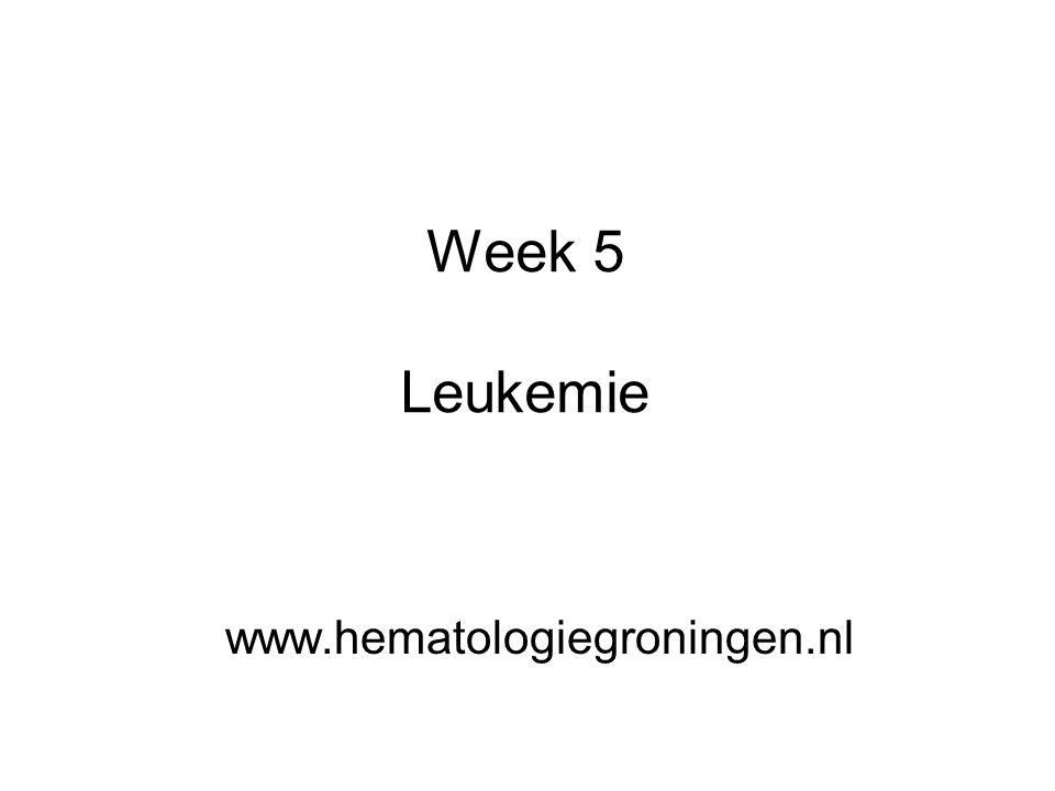 Belangrijkste vormen van leukemie VormVerloopBetrokken soort witte bloedcel Aantal nieuwe gevallen per jaar in Nederland acute lymfatische leukemie snellymfocyten180 acute myeloïde leukemie snelmyelocyten500 chronische lymfatische leukemie langzaamlymfocyten440 chronische myeloïde leukemie langzaammyelocyten170