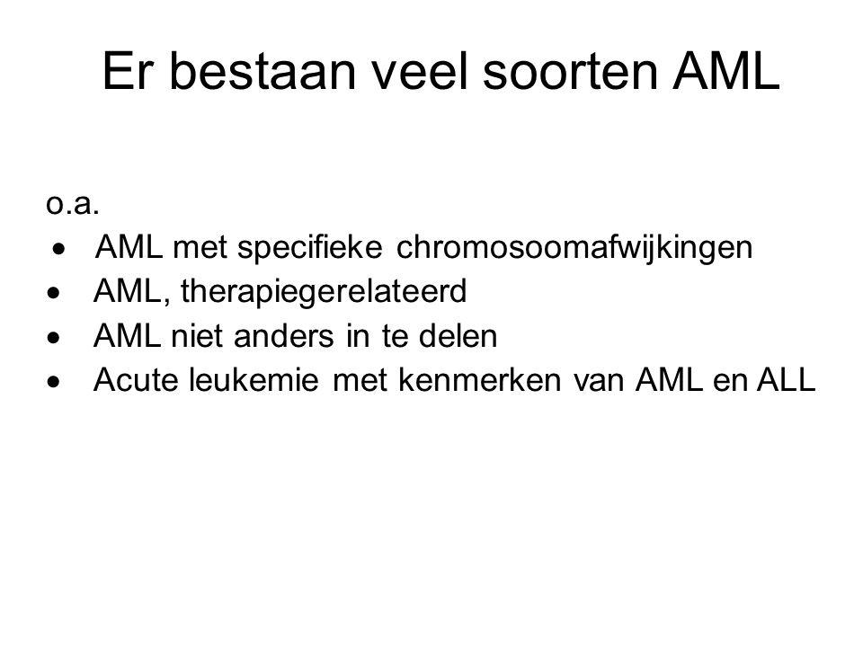Er bestaan veel soorten AML o.a.  AML met specifieke chromosoomafwijkingen  AML, therapiegerelateerd  AML niet anders in te delen  Acute leukemie