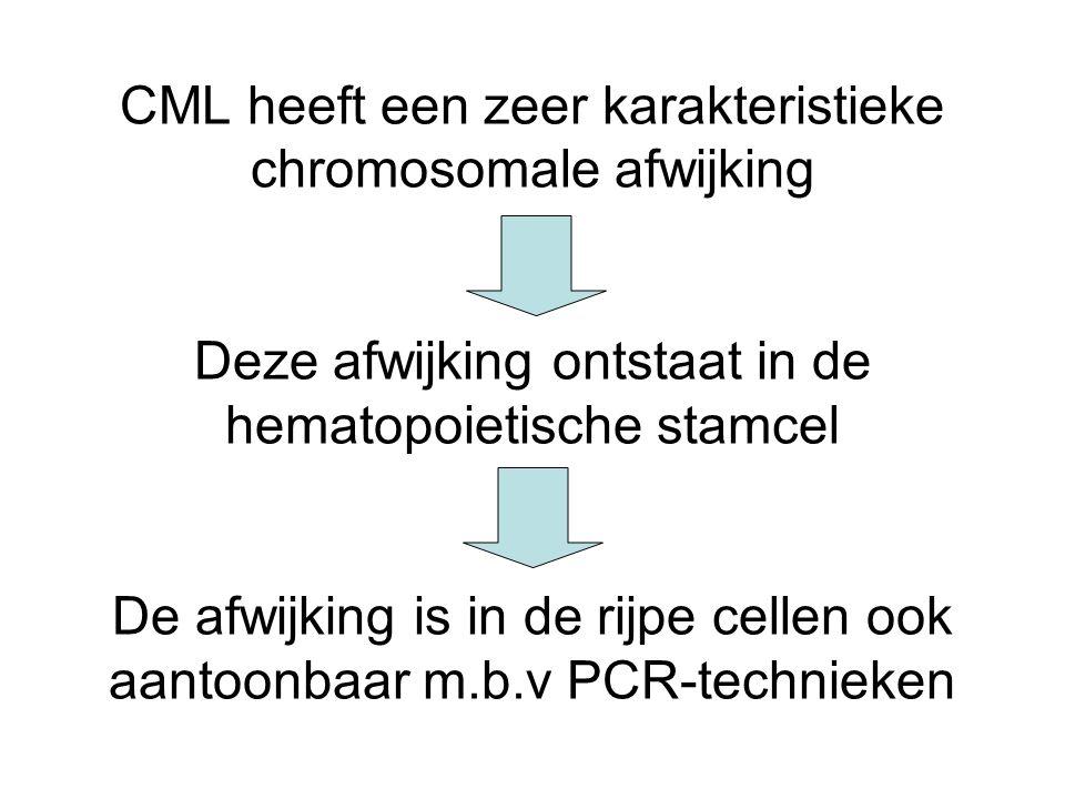 CML heeft een zeer karakteristieke chromosomale afwijking Deze afwijking ontstaat in de hematopoietische stamcel De afwijking is in de rijpe cellen oo