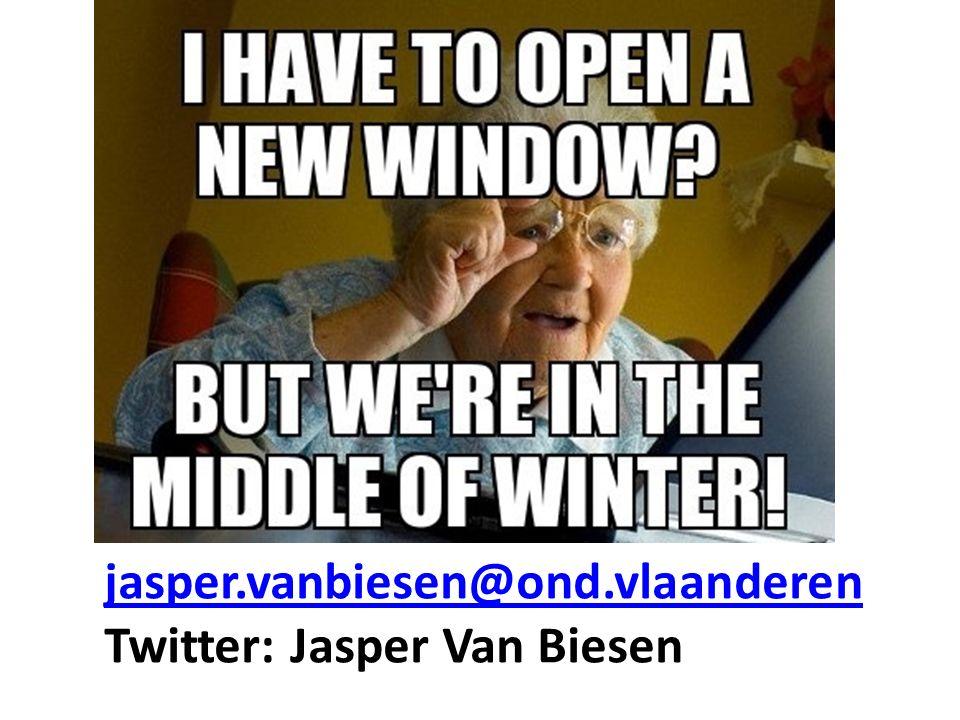 jasper.vanbiesen@ond.vlaanderen jasper.vanbiesen@ond.vlaanderen Twitter: Jasper Van Biesen