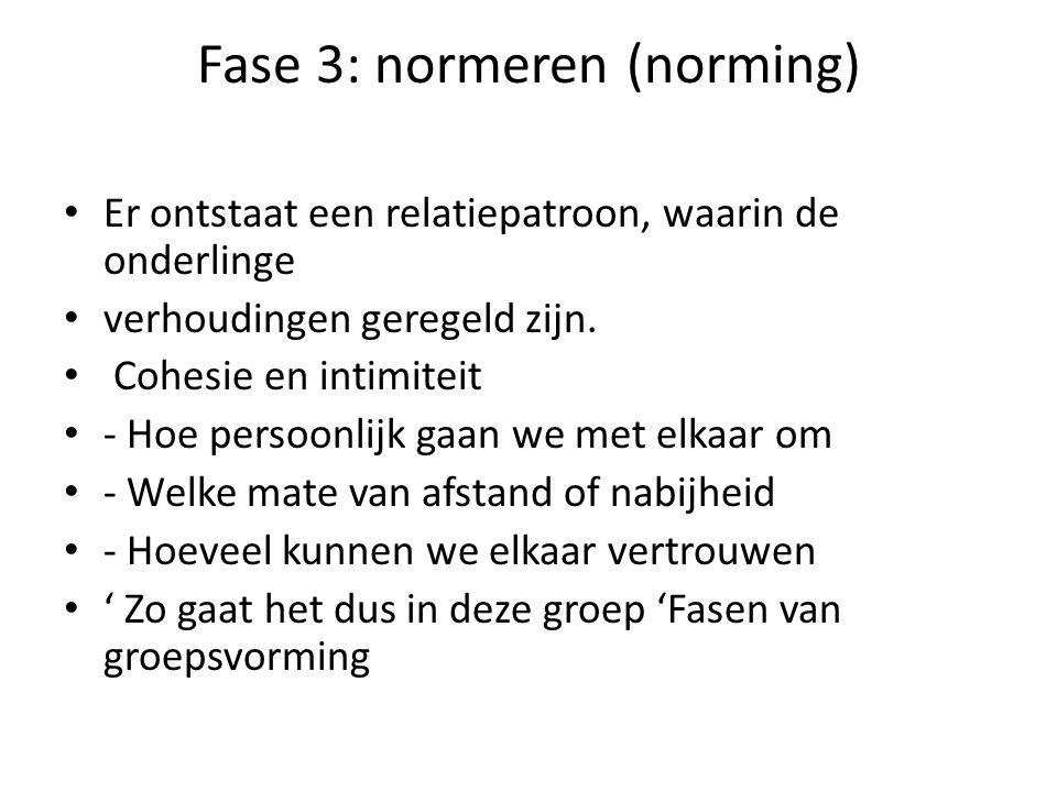 Fase 3: normeren (norming) Er ontstaat een relatiepatroon, waarin de onderlinge verhoudingen geregeld zijn. Cohesie en intimiteit - Hoe persoonlijk ga