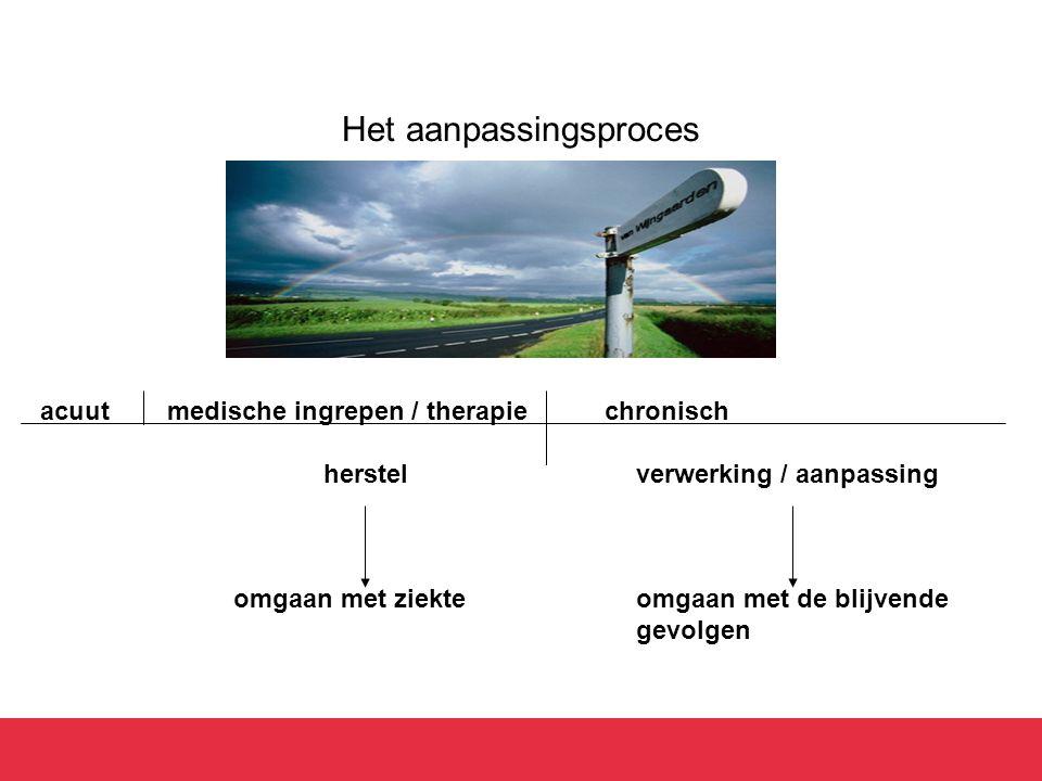 Het aanpassingsproces acuut medische ingrepen / therapie chronisch herstelverwerking / aanpassing omgaan met ziekteomgaan met de blijvende gevolgennda