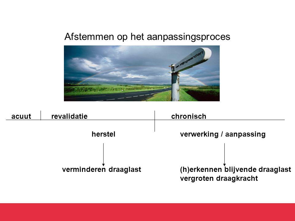 Afstemmen op het aanpassingsproces acuut revalidatie chronisch herstelverwerking / aanpassing verminderen draaglast(h)erkennen blijvende draaglast ver