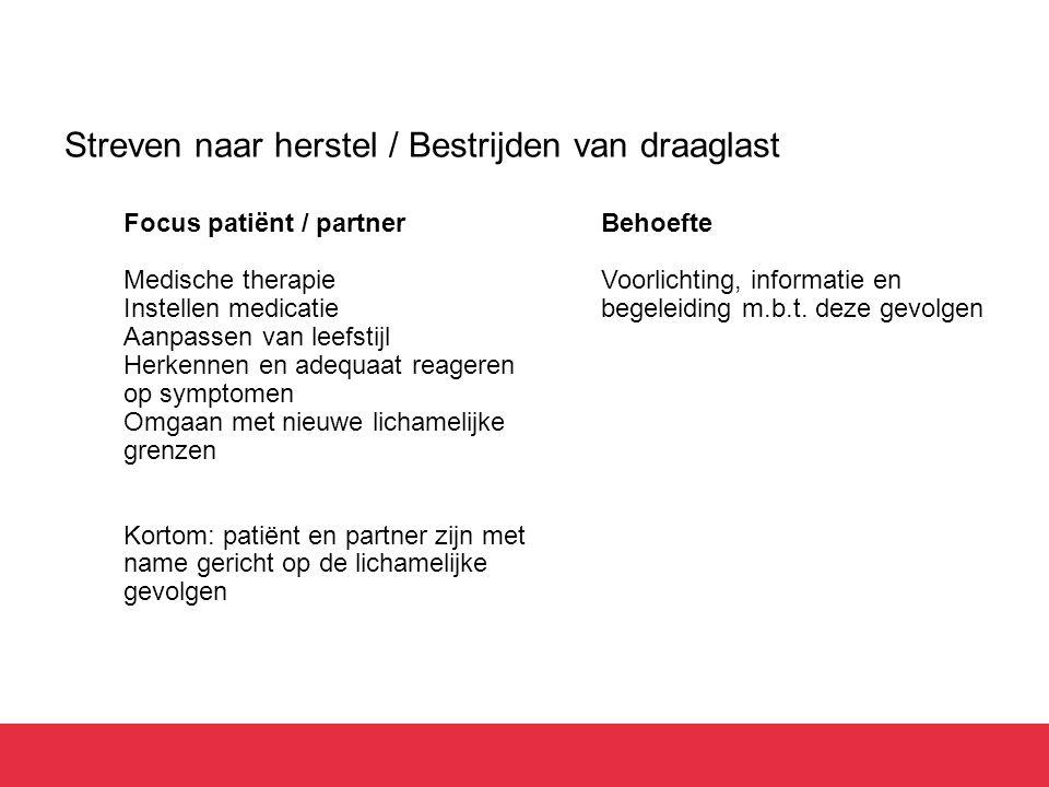 Streven naar herstel / Bestrijden van draaglast Focus patiënt / partner Medische therapie Instellen medicatie Aanpassen van leefstijl Herkennen en ade