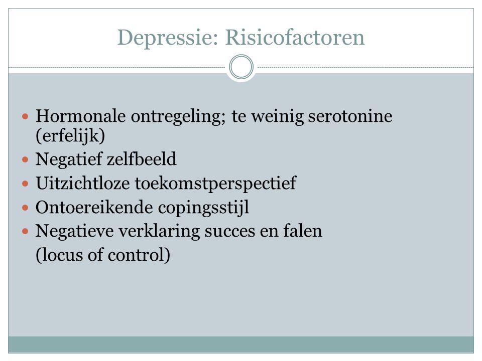 Depressie: Risicofactoren Hormonale ontregeling; te weinig serotonine (erfelijk) Negatief zelfbeeld Uitzichtloze toekomstperspectief Ontoereikende copingsstijl Negatieve verklaring succes en falen (locus of control)