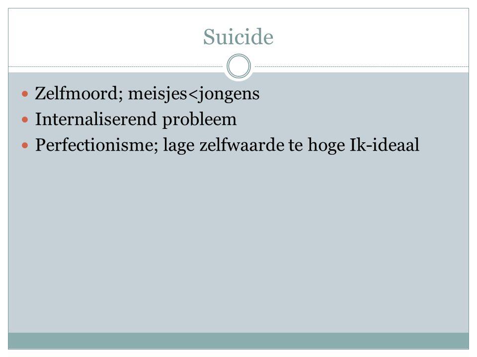 Suicide Zelfmoord; meisjes<jongens Internaliserend probleem Perfectionisme; lage zelfwaarde te hoge Ik-ideaal