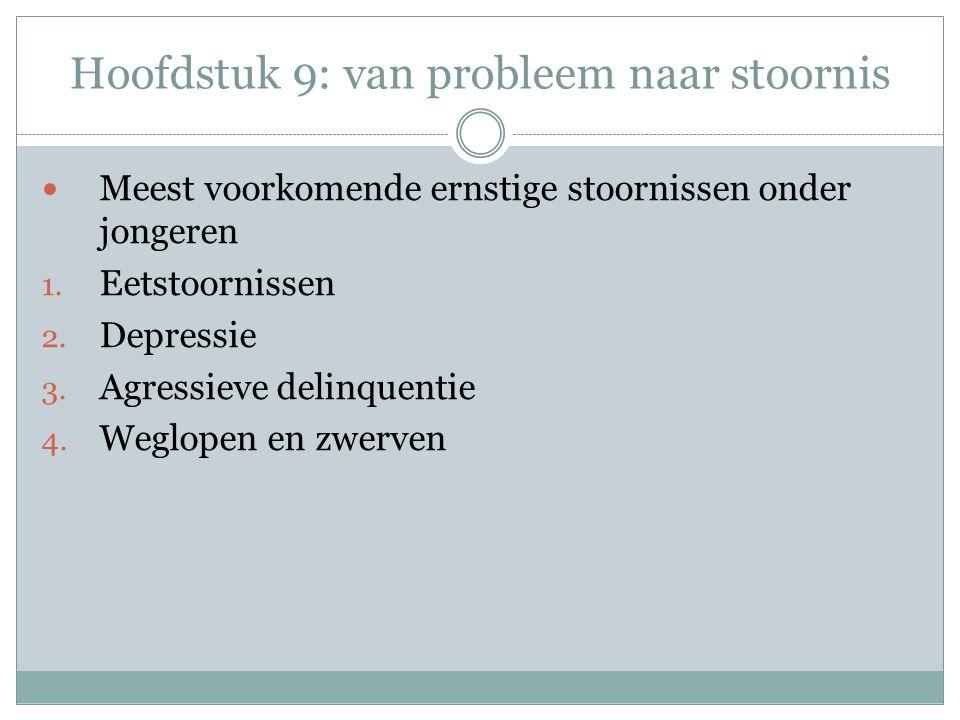 Hoofdstuk 9: van probleem naar stoornis Meest voorkomende ernstige stoornissen onder jongeren 1.