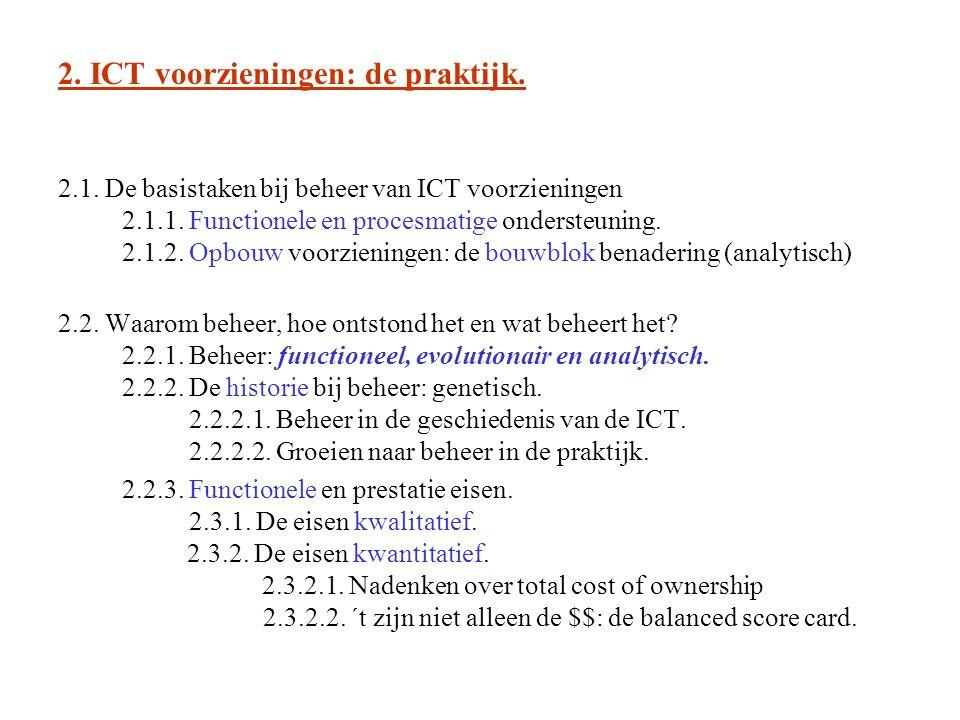 2. ICT voorzieningen: de praktijk. 2.1. De basistaken bij beheer van ICT voorzieningen 2.1.1.