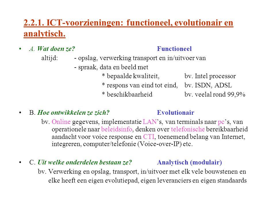 2.2.1. ICT-voorzieningen: functioneel, evolutionair en analytisch.