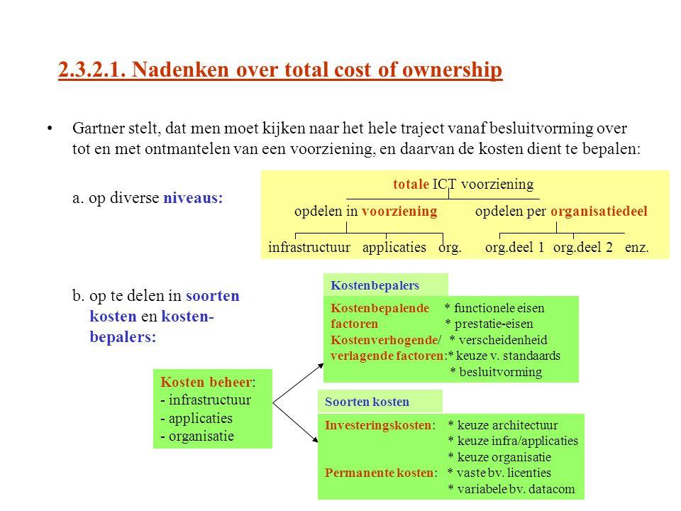 2.3.2.1. Nadenken over total cost of ownership Gartner stelt, dat men moet kijken naar het hele traject vanaf besluitvorming over tot en met ontmantel
