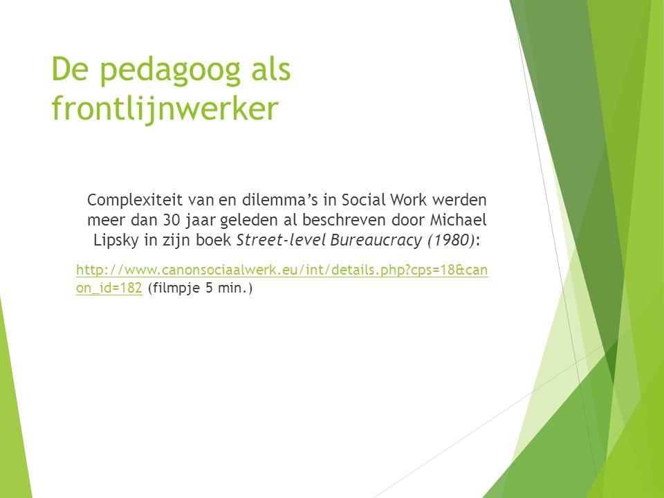 De pedagoog als frontlijnwerker Complexiteit van en dilemma's in Social Work werden meer dan 30 jaar geleden al beschreven door Michael Lipsky in zijn boek Street-level Bureaucracy (1980): http://www.canonsociaalwerk.eu/int/details.php?cps=18&can on_id=182http://www.canonsociaalwerk.eu/int/details.php?cps=18&can on_id=182 (filmpje 5 min.)