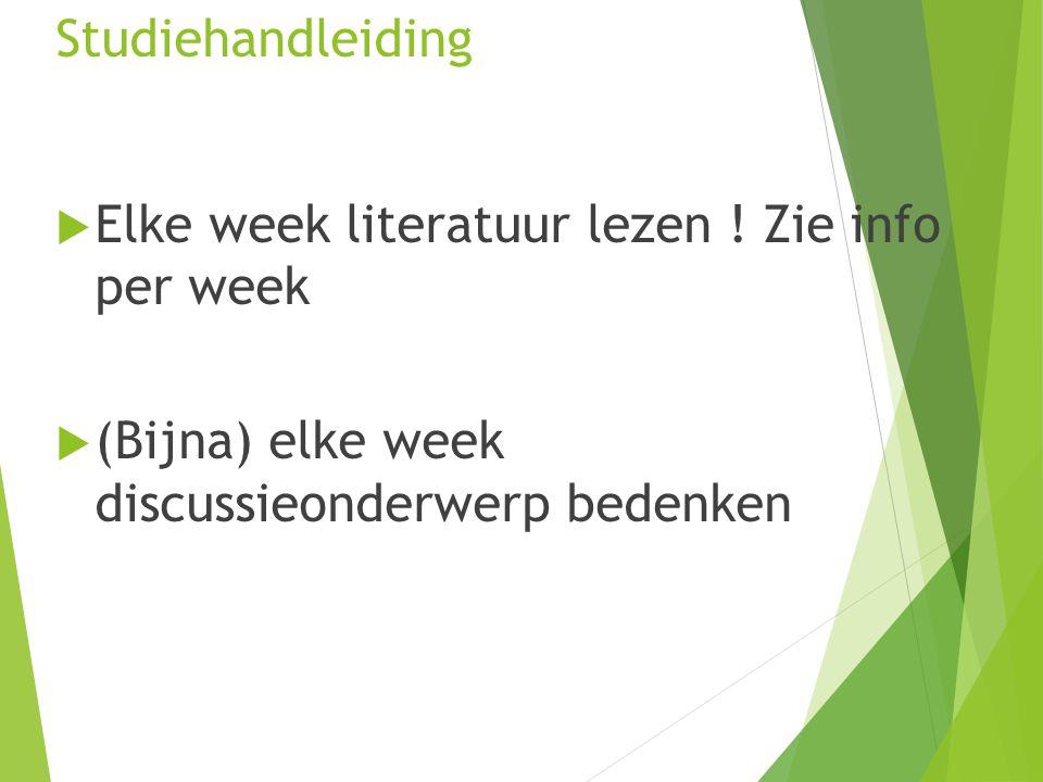 Studiehandleiding  Elke week literatuur lezen .