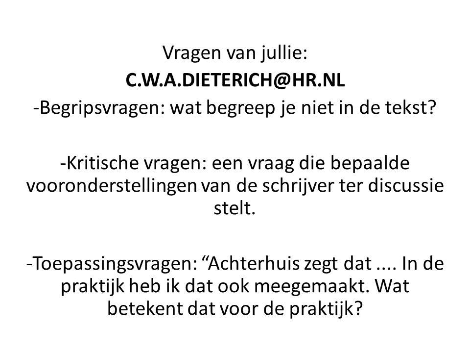 Vragen van jullie: C.W.A.DIETERICH@HR.NL -Begripsvragen: wat begreep je niet in de tekst? -Kritische vragen: een vraag die bepaalde vooronderstellinge