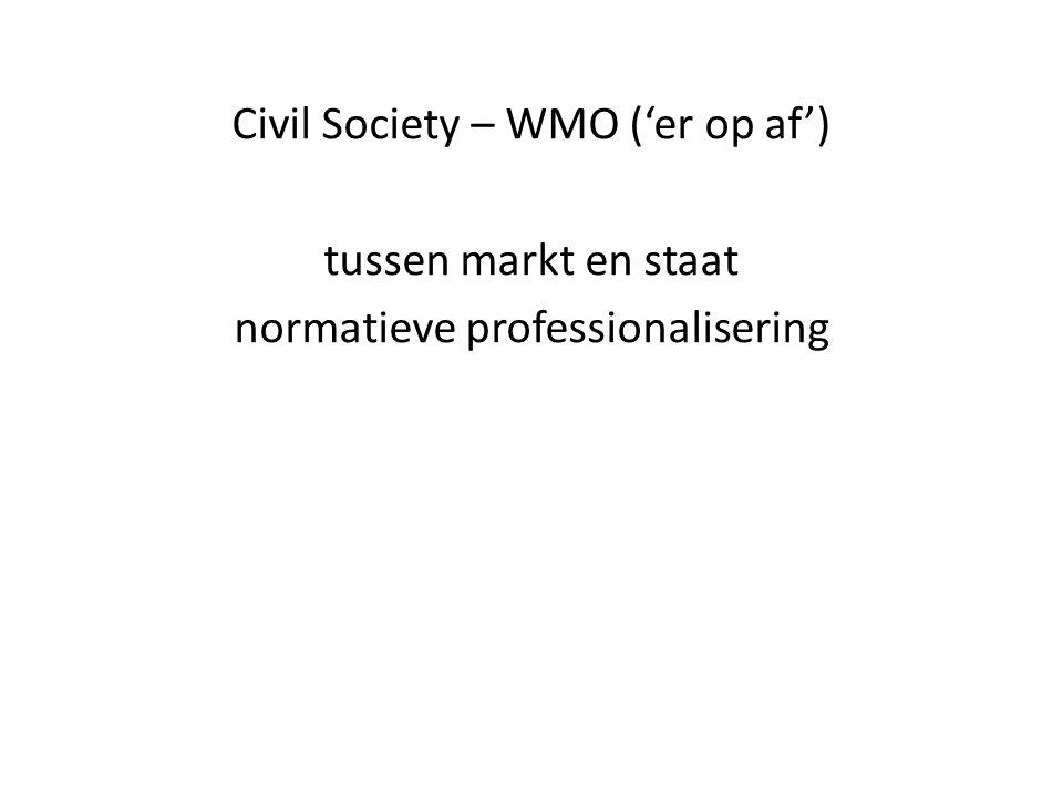 Civil Society – WMO ('er op af') tussen markt en staat normatieve professionalisering