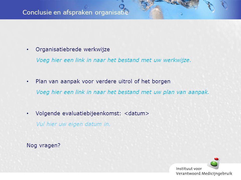 Conclusie en afspraken organisatie Organisatiebrede werkwijze Voeg hier een link in naar het bestand met uw werkwijze.