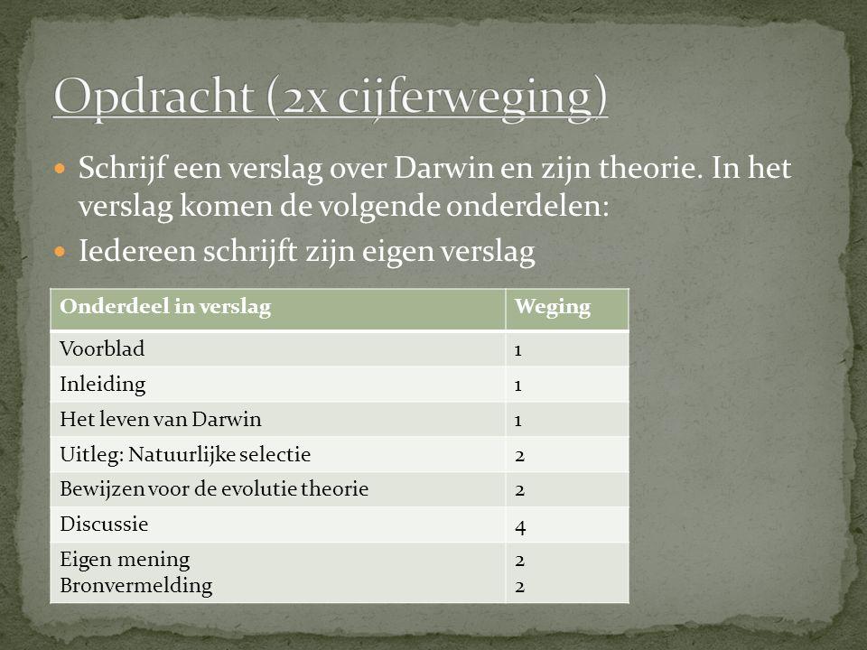 Schrijf een verslag over Darwin en zijn theorie. In het verslag komen de volgende onderdelen: Iedereen schrijft zijn eigen verslag Onderdeel in versla