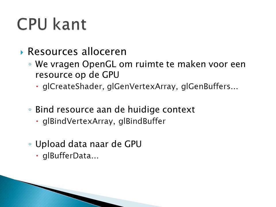  Resources alloceren ◦ We vragen OpenGL om ruimte te maken voor een resource op de GPU  glCreateShader, glGenVertexArray, glGenBuffers... ◦ Bind res