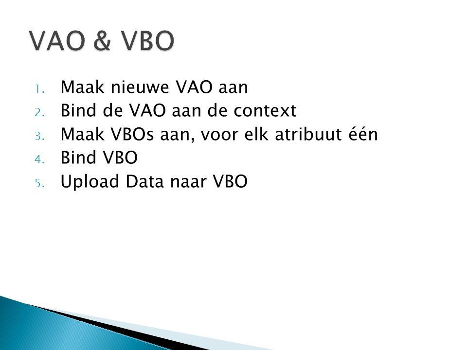 1. Maak nieuwe VAO aan 2. Bind de VAO aan de context 3. Maak VBOs aan, voor elk atribuut één 4. Bind VBO 5. Upload Data naar VBO