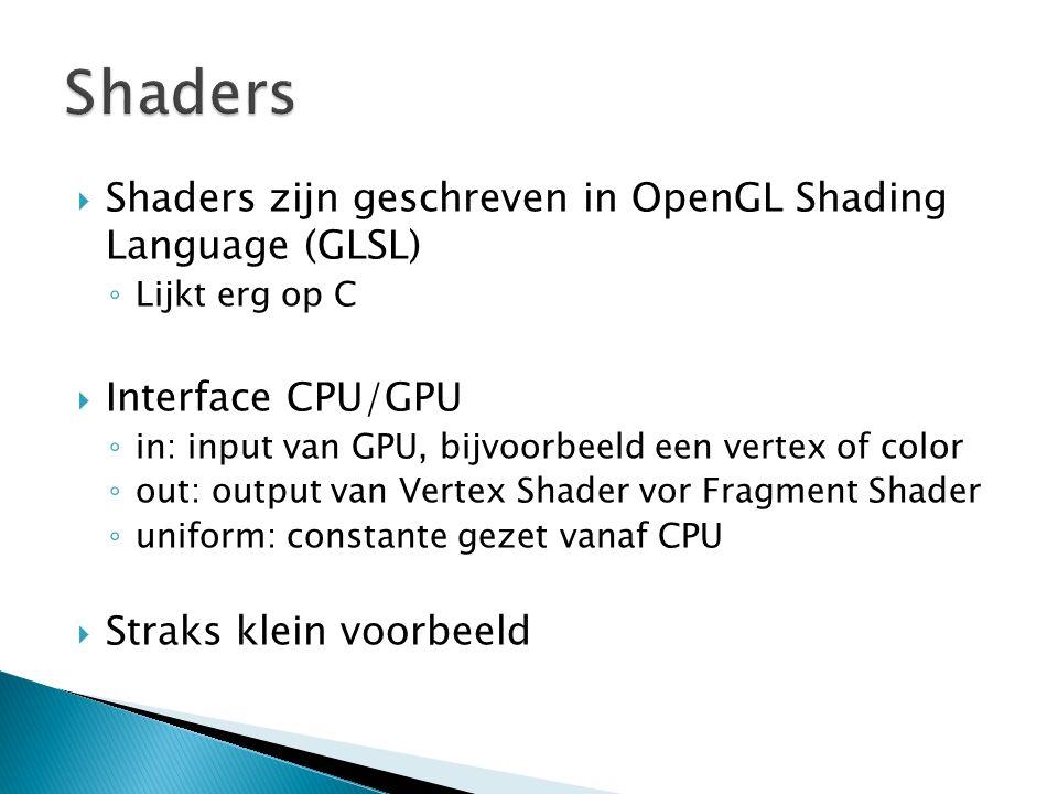  Shaders zijn geschreven in OpenGL Shading Language (GLSL) ◦ Lijkt erg op C  Interface CPU/GPU ◦ in: input van GPU, bijvoorbeeld een vertex of color ◦ out: output van Vertex Shader vor Fragment Shader ◦ uniform: constante gezet vanaf CPU  Straks klein voorbeeld