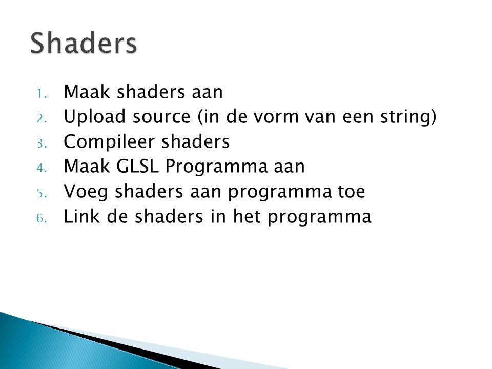 1. Maak shaders aan 2. Upload source (in de vorm van een string) 3. Compileer shaders 4. Maak GLSL Programma aan 5. Voeg shaders aan programma toe 6.