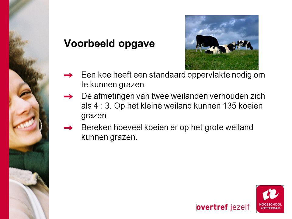 Voorbeeld opgave Een koe heeft een standaard oppervlakte nodig om te kunnen grazen.