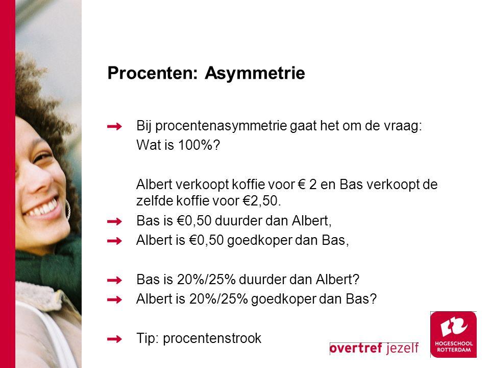 Opgave procenten 2 Op 1 september verhoogt Bakker Bart de prijs van een brood met 15%, op 1 oktober verlaagt Bart de prijs van het brood met 10%.