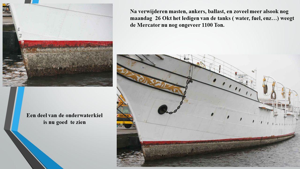 Na verwijderen masten, ankers, ballast, en zoveel meer alsook nog maandag 26 Okt het ledigen van de tanks ( water, fuel, enz…) weegt de Mercator nu no