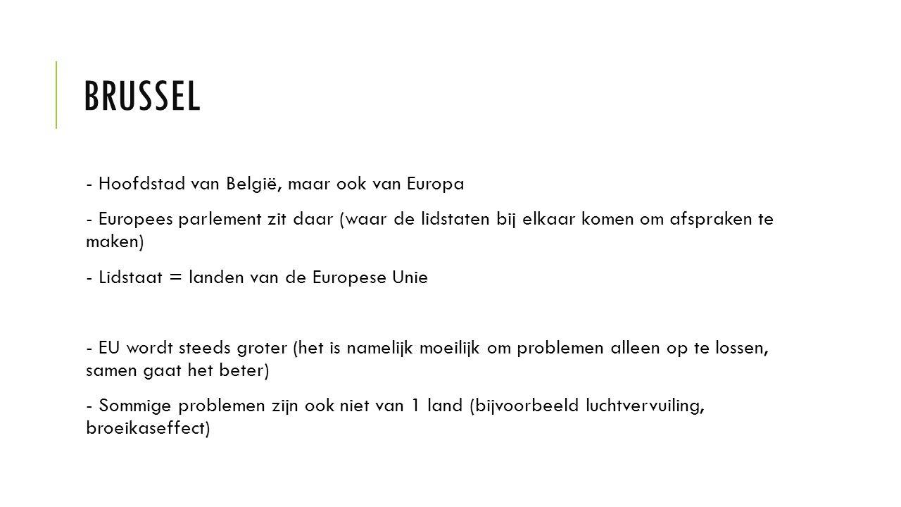 BRUSSEL - Hoofdstad van België, maar ook van Europa - Europees parlement zit daar (waar de lidstaten bij elkaar komen om afspraken te maken) - Lidstaa