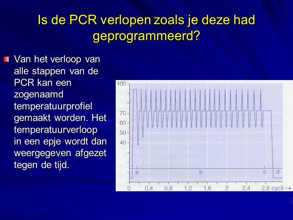 Is de PCR verlopen zoals je deze had geprogrammeerd? Van het verloop van alle stappen van de PCR kan een zogenaamd temperatuurprofiel gemaakt worden.