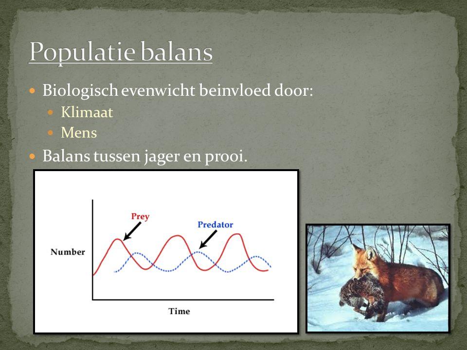 Biologisch evenwicht beinvloed door: Klimaat Mens Balans tussen jager en prooi.